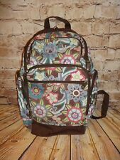 Pottery Barn PB Teen Brown Floral Flower Backpack Pockets Galore Monogrammed d644b5a501b9f