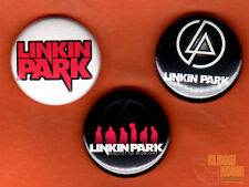 """Set of three 1"""" Linkin Park pins/buttons band rock alternative lincoln"""