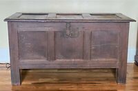 Antique English Oak Panel Blanket Chest Trunk Coffer - WE SHIP!