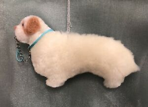 CLUMBER SPANIEL hanging dog decoration WITH CHAIN LEAD Part NEEDLE FELTED