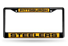 Pittsburgh Steelers Laser Cut Black Chrome Metal License Plate Frame