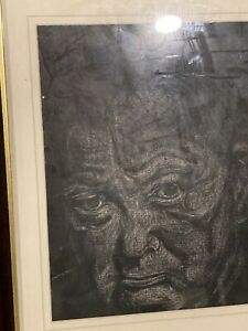 OLD PAINTING ON CANVAS BOARD / WINSTON CHURCHIL / VERY STERN - GRUMPY / DETAILED