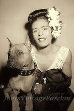 """Vintage 1930's BILLIE HOLIDAY With Her Pet Dog Mister Photo 4""""x6"""" Sepia Reprint"""