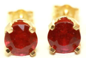 3.16ct Natural Red Ruby 14K Solid Yellow Gold Stud Earrings Diamond Alternative