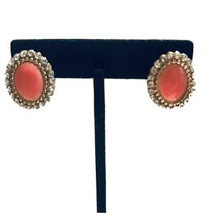 Faux Pink Coral Oval Capuchin Button Earrings K758