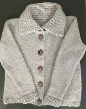 Vintage 1960's Hand Knit Mohair Sweater Cardigan Pale Lavender Women's Medium