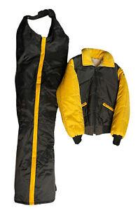 Vintage Bombardier Ski Doo Snowmobile Jacket Coat Sherpa Lined Snow Pants Bibs
