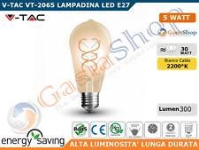 V-TAC VT-2065 LAMPADINA LED E27 5W BULB ST64 FILAMENTO AMBRATA - SKU 7218