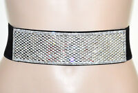 CINTURA NERA stringivita STRASS cristalli trasparenti donna elastica bustino G6