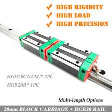 20mm HIWIN HGR20 Linear Rail Guideway+2pc HGH20CA Rail Block Carriage CNC Router