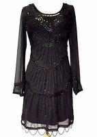 20's Flapper Gatsby Embellished Long Sleeve Chiffon Dress Black BNWT 8 - 24