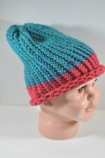 Teal Blue and Raspberry Pink Hand Knit Slouchy Hat Beanie Toddler Child