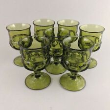 King's Crown Avocado Green Goblets Cordial Glasses Set of 7 70s Pressed Glass