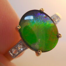 Natural Multi-Coloured AA Ammolite Yellow Gold Ring
