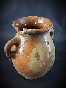 Très ancienne potiche en terre cuite émaillée 19ème ou avant