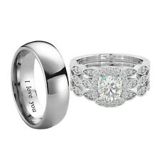 Couple Rings Set - Titanium and 925 Sterling Silver Belle Amour Bridal
