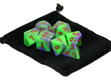 New 7 Piece Polyhedral Blend Purple Green Dice Set With Dice Bag D&D RPG