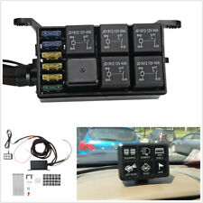 12V 960W Car Boat 6LED Switch Panel Relay Control Box+Wiring Harness Waterproof