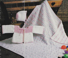 Crochet Pattern ~ BABY GIRLS CROSS STITCH HAT, SWEATER & AFGHAN ~ Instructions