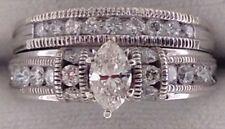 14k White Gold Marquise Diamond Bridal Wedding Engagement Ring Set $3,600 value