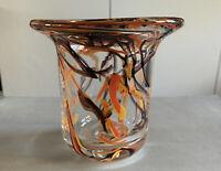 hand blown studio art glass hurricane style vase/ votive candle holder signed