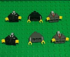 Lego X6 New Mini Figures Dark Bluish Gray / Black Suit Tuxedo,Tie Pattern Torsos