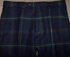 NWT Lauren Ralph Lauren Navy/Green TARTAN PLAID Wool Pants 35 x 32 Slim Fit Xmas