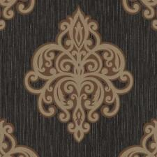P&S International Opale Motif damas Papier peint Metalique en relief noir Br