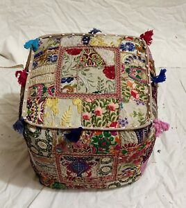 """Indian Cotton Handmade Ottoman Patchwork Poufs Cover Footstool 16X16X16"""" Inches"""