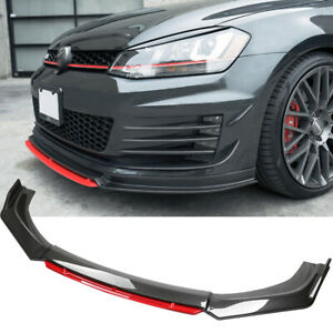 For VW Golf MK5 MK6 MK7 Front Bumper Lip Splitter Chin Spoiler Carbon Fiber +Red