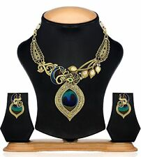 Indian Jewelry Set Peacock Designed Gold Plated Necklace Set With Earrings