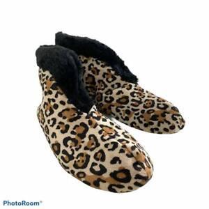 Dear Foam Woman's Sz S ( 5-6) Leopard Slippers  Fur Lined & trimmed  Closed Back