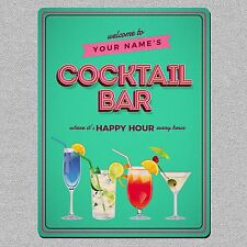 Personalised Cocktail Bar Metal Wall Sign/Plaque A5 Size UK MADE Retro Style