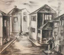 Antique charcoal drawing cityscape
