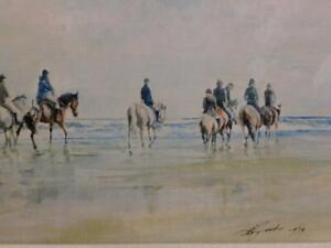 VINTAGE old painting oil race HORSES sand sea signed