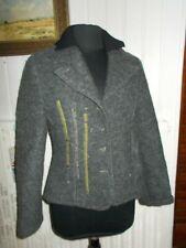 Veste blazer laine bouillie gris PAUSE CAFE 40 boutons surpiqué vert