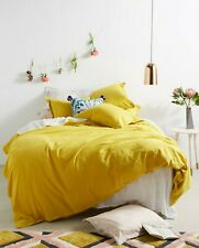 Anthropologie Relaxed Linen King Duvet Cover Raw Edge Button Closure Yellow $228