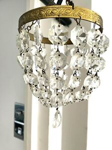 vintage basket small crystal chandelier