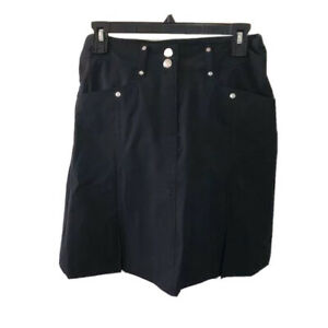 Daily Sports Womens Black Golf Skort Nylon Spandex Pockets Buttons Size 2