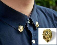2x Men's Gold Shirt Suit Collar Lionhead Neck Tip Brooch Pin Clasp Clip Pin Gift