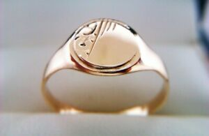 Beautifully Engraved Vintage 9ct Gold Childs Signet Ring Circa 1956