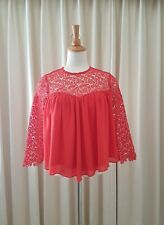 Gorgeous SLIDE SHOW Red Cropped Lace trimed Blouse Top Size 10 EUC
