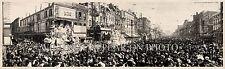 1913 Rex Parade Carnival, New Orleans LA Panoramic Vintage Photograph Panorama