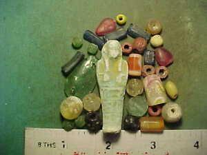 30+ Ancient beads circa 1000 BC- 1700 AD + An Egyptian faience Ushabti