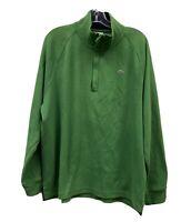 LACOSTE Mens Green Navy Blue Collar Long Sleeve 1/4 Zip Polo Shirt Sz 7