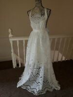 BNWT asos 10 sample white woven lace sheer beach wedding dress backless tiered