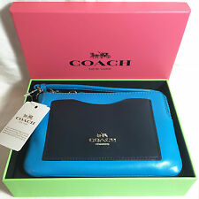 Coach Boxed Corner Zip Wristlet Colorblock Smooth Calf Leather 65990B