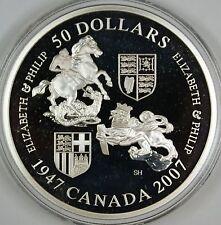 2007 Canada $50 Queen's 60th Wedding Anniv. 5oz .9999 Silver Coin w/Box & COA