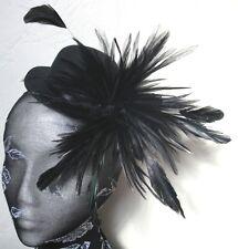 black feather mini top hat fascinator millinery burlesque wedding ascot race