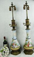 XXL PAIR antique French vieux paris porcelain hand paint table lamps romantic